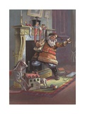 Santa Claus Going Up Chimney Giclee Print