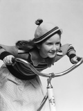 1930s Smiling Eager Little Girl in Knit Cap and Matching Sweater Riding Bike Fotoprint