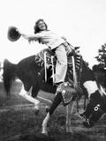 Young Woman on Phony Pony, Ca. 1940 Reprodukcja zdjęcia