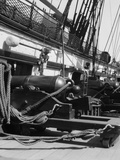 1930s Row of Cannon Breeches on Gun Deck of Sailing Naval Ship of War Photographic Print