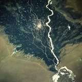 River and Cotton Fields Seen from Space Photographic Print