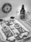 1950s Finger Food Snacks and Bottled Beer Photographic Print by L. Fritz