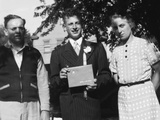 Boy with His Parents on His 8th Grade Graduation, Ca. 1940 Photographic Print