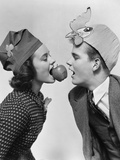 1940s Couple Teen Boy and Girl Wearing Party Hats Bobbing for an Apple on a String Photographic Print