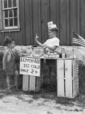 1940s Boy Running Lemonade Stand Photographic Print