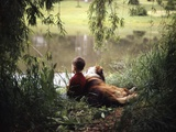 1960s-1970s Boy Fishing with His Dog by His Side Papier Photo par D. Miller