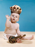1960s Baby Wearing Cloth Diaper and Crown Holding a Scepter Waving with One Arm Raised Photographic Print