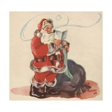 Santa Claus Smoking His Pipe Giclee Print