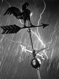 Rooster Weathervane in Rain and Lightning Storm Photographic Print
