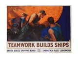 Teamwork Builds Ships Poster Giclee Print by William Dodge Stevens