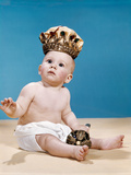 1960s Baby Wearing Cloth Diaper and Crown Holding a Scepter Photographic Print