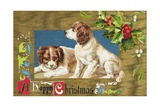 A Happy Christmas Embossed and Gilded Chromolithograph Postcard Giclee Print