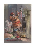 Santa Claus Filling Christmas Stockings Giclee Print
