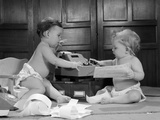 1960s Two Babies Wearing Diapers in Business Office with Adding Machine Playing Accountant Photographic Print
