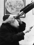 1930s Old Astronomer White Hair and Beard Wearing Skull Cap Looking Through Telescope Photographic Print