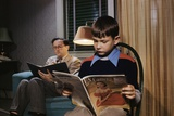 Father and Son Reading at Home Photographic Print by William P. Gottlieb