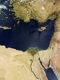 Satellite View of the Eastern Mediterranean Sea Photographic Print