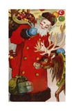 Postcard Depicting Santa Claus and a Reindeer Giclee Print