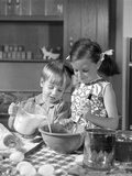 1960s Two Children Boy Girl Bowl Mixing Pouring Milk in Kitchen Photographic Print