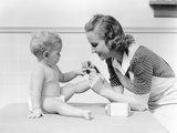 1930s Mother Touching Baby Toes Fingers This Little Piggy Nursery Rhyme Photographic Print