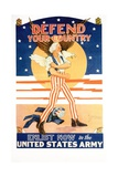 Defend Your Country Recruitment Poster Giclee Print by Tom Woodburn