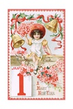 A Happy New Year Postcard with a Little Girl and Bells Giclee Print