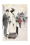 Book Illustration Showing a Street Scene with a Couple Waiting for a Trolley Giclee Print by Théophile Alexandre Steinlen