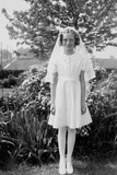Young Girl in Her First Communion Dress, Ca. 1936 Photographic Print