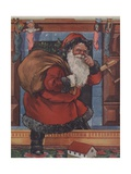 Santa Claus Touching His Nose on Way Up Chimney Giclee Print