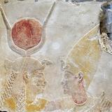 Painted Limestone Fragment of Isis Greeting Nectanebo II Photographic Print