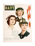 Navy - Serve with Pride and Patriotism Recruiting Poster Giclée-Druck