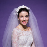 1960s Young Woman Bride Portrait Bridal Veil Head Shoulders Smiling Pearls Photographic Print