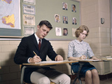 1960s College Students Couple Man Woman Studying Photographic Print