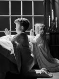 1950s Two Children Praying Kneeling Night Photographic Print