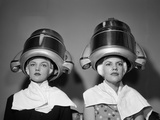 1950s Two Women under Hair Dryers Towels around Shoulders Hair Nets Photographic Print