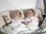 1950s-1960s Twin Babies Lying in Pram Photographic Print