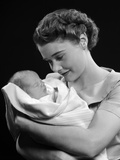 1950s Mother Holding Baby Child Photographic Print