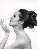 1960s-1970s Profile Portrait of Glamorous Woman with Bare Shoulders and High Fashion Makeup Photographic Print