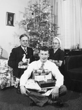 Eighteen Year Old Man with His Presents at Christmas, Ca. 1945 Photographic Print