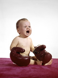 1960s Crying Baby Wearing Large Boxing Gloves Photographic Print