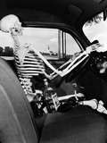1930s-1940s Still Life of Skeleton Driving Car with Whiskey Bottle and Woman's Shoes on Seat Photographic Print