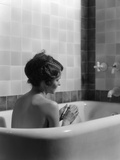 1920s-1930s Woman Sitting in Bath Tub Photographic Print