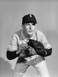 1950s Portrait Baseball Player Poised for Action Photographic Print