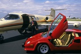 Successful Wealthy Businessman with Lamborghini and Jet Plant Photographic Print