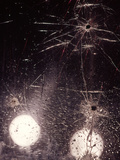 1970s Bullet Holes and Raindrops on Shattered Glass Windshield Photographic Print
