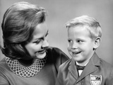 1960s Portrait Mother with Arm around Son Dressed in School Uniform Photographic Print