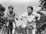 1930s-1940s Two Boys Riding Racing Bicycles Photographic Print