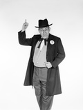 1950s-1960s Man Wearing Old-Time Politician Frock Coat with Campaign Pin Photographic Print