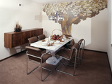 1970s Dining Room Table Chairs Wall Decor Mural of Tree Photographic Print