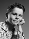1950s Child Portrait Boy with Freckles Posed Resting Head Cheek on Hand Photographic Print